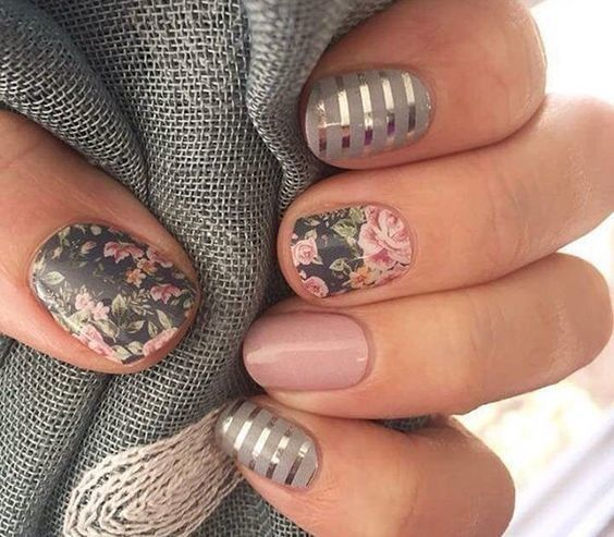 earl grey mix it up with these mismatched nail designs photos - Ideas For Nail Designs