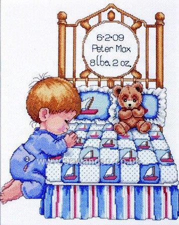 Buy Bedtime Prayers Boy Sampler Cross Stitch Kit Online at www.sewandso.co.uk