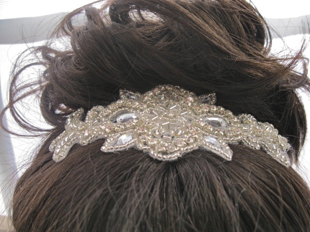 Rhinestone Beaded Headband, Crystal Wedding  Headpiece