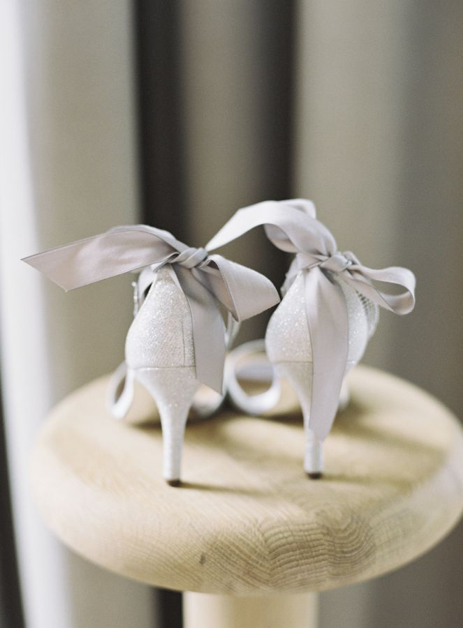 grey and silver glittered bow stilettos