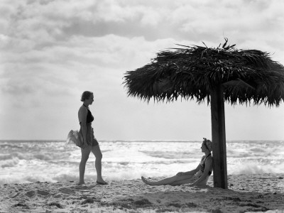 Women on Beach: Beaches, Vintage Beach, Women, Thatch Umbrella