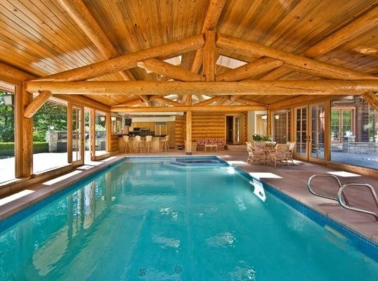 23 best mansions indoor swimming pool images on pinterest - Log cabins with indoor swimming pools ...
