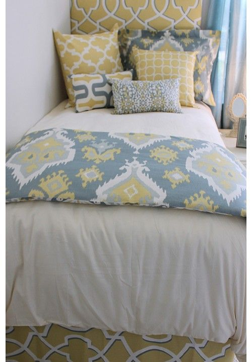 Spa Blue & Buttercup Yellow Ikat Designer Teen & Dorm Bed in a Bag 2.0 | Teen Girl Dorm Room Bedding