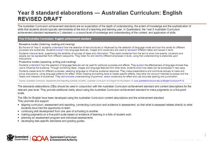 Year 8 English standard elaborations