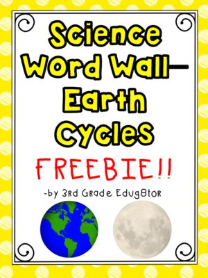 Science Word Wall FREEBIE!!--Earth Cycles from 3rd Grade Edug8tor on TeachersNotebook.com -  (11 pages)  - This freebie includes 12 word wall cards related to Earth Cycles. Each card include a word written in large font with a graphic to match. I have also included a word wall activity worksheet :-)