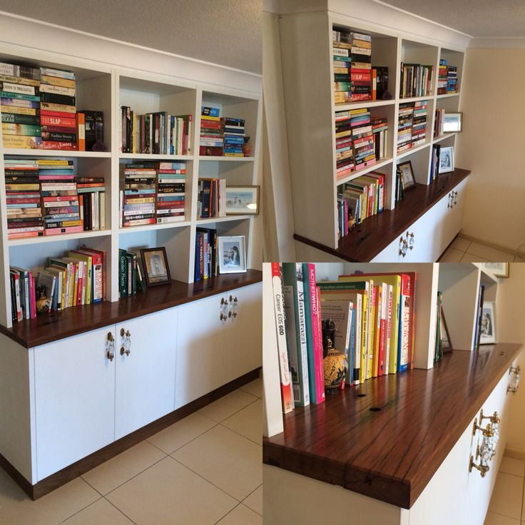A bookcase made by Concepts Created. The top is made from recycled bridge timbers.