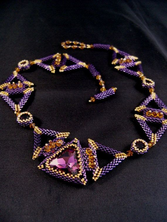 Triangulations Beaded Necklace by ChristmasCreation on Etsy