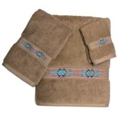 Taos Border 3pc Linen Bath Towel Set 100% Egyptian Cotton - Bathroom Items Embroidered Bath Towels - WEST BY SOUTHWEST DECOR