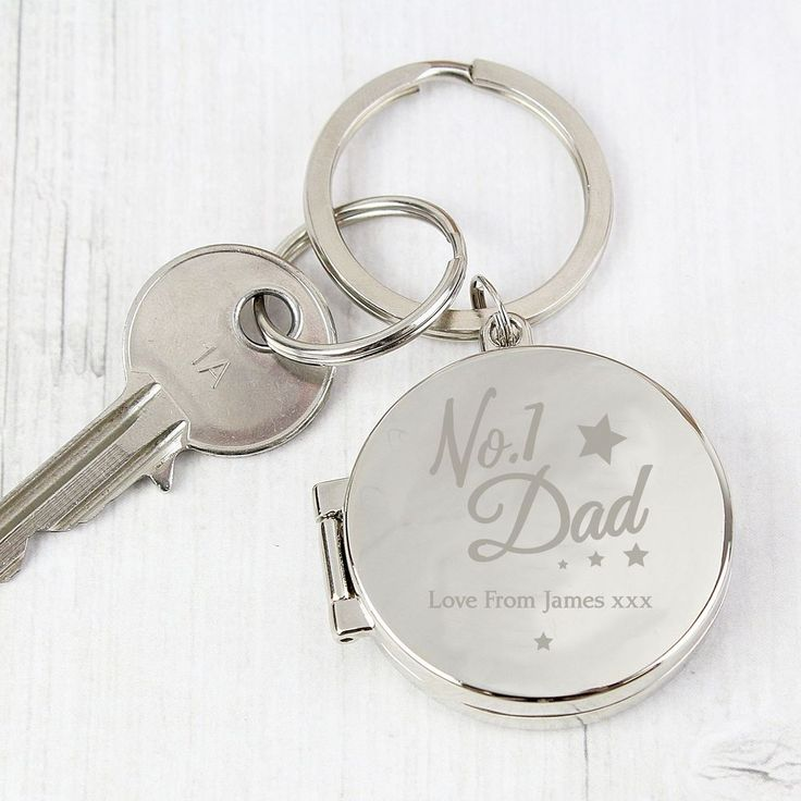 Personalise this No.1 Dad Photo Keyring with a line of text of up to 20 characters.