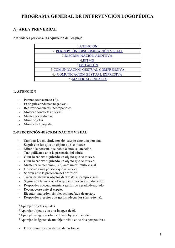 Programa general de intervención logopédica by carlafig via slideshare