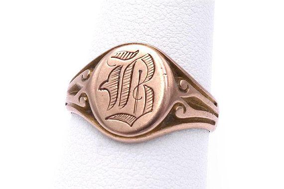 Antique 10k Signet Ring Old English Initial B Size 7 Signet Ring Signet Old English Letters