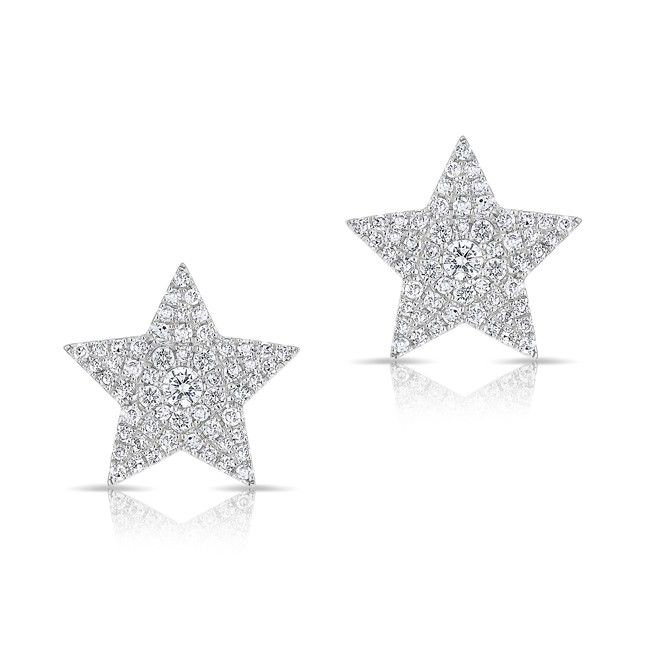14kt White Gold Diamond Star Stud Earrings Measures At Roximately 1 2