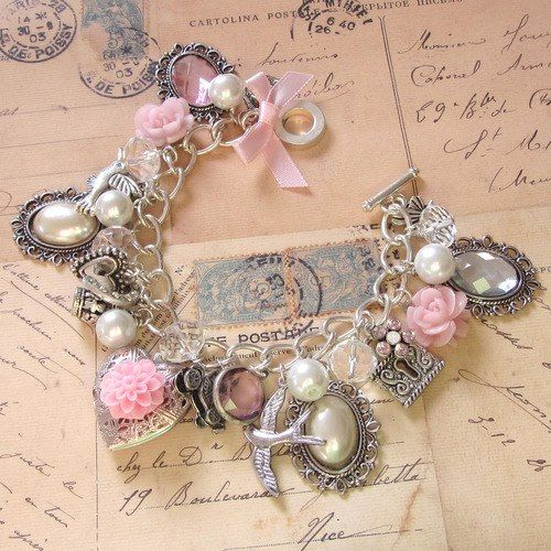 start charm bracelet for Charlie as flower girl gift - sweet pink and silver charm bracelet ❤