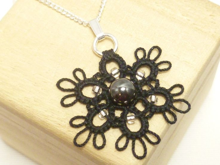 Tatted jewelry flower pendant Tatting - The beaded Dainty with many color choices MTO by SnappyTatter on Etsy