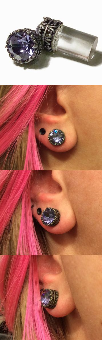 0g 2g 4g 6g 8g Silver filigree Tanzanite #Plugs Made With Swarovski Elements