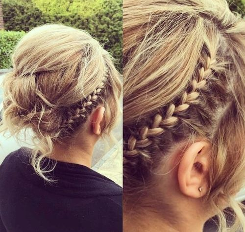 messy updo with a braid for thin hair