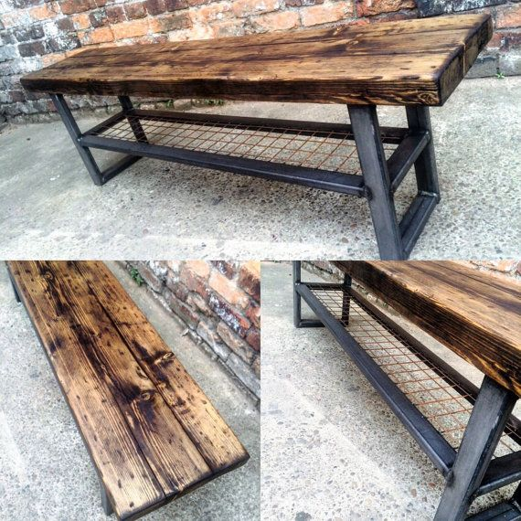 Industrial Chic Reclaimed Bench with wire shelf Coffee by RCCLTD