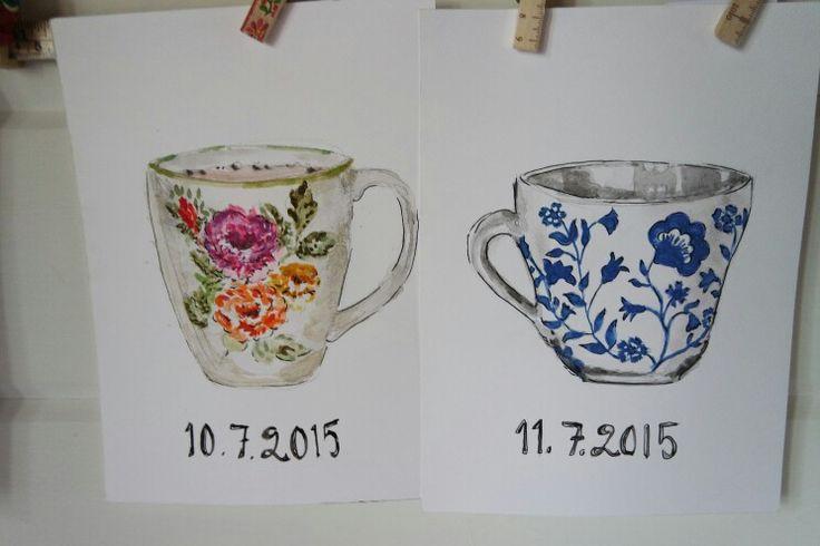 Aamuiset kahvimukit, eilen tänään, vesiväreillä. Akvarelli