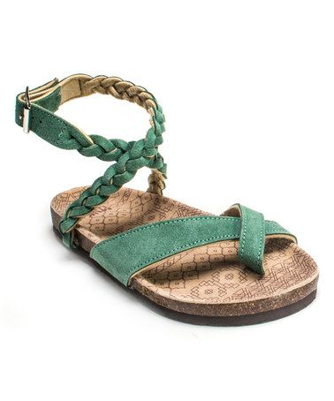 Look what I found on #zulily! Emerald Green Zara Braided Strappy Suede Sandal by MUK LUKS #zulilyfinds