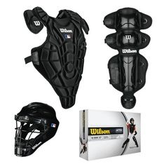 Wilson's EZ Gear Youth Catcher's Kit includes the WTA3061 Helmet, WTA3259 Chest protector and WTA3457 leg guards, and is designed for ultimate protection and fit. On Sale Now $89.99