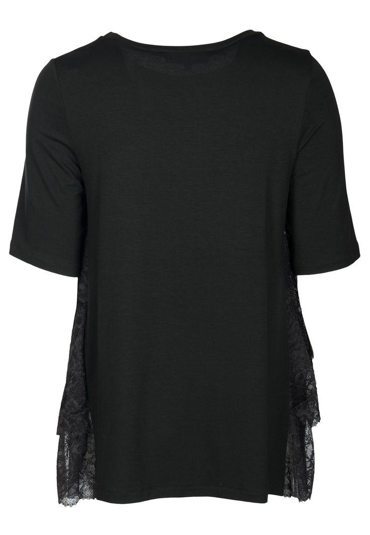 Чёрная асимметричная блуза с детализацией кружевом VIA TORRIANI 88 – заказать в интернет-магазине по цене 22900 руб., арт. 151666 - ElytS.ru
