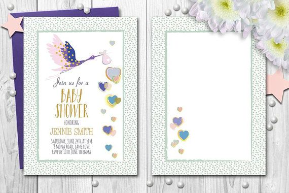 Baby Shower Invitations Stork Baby Delivery Hearts Digital