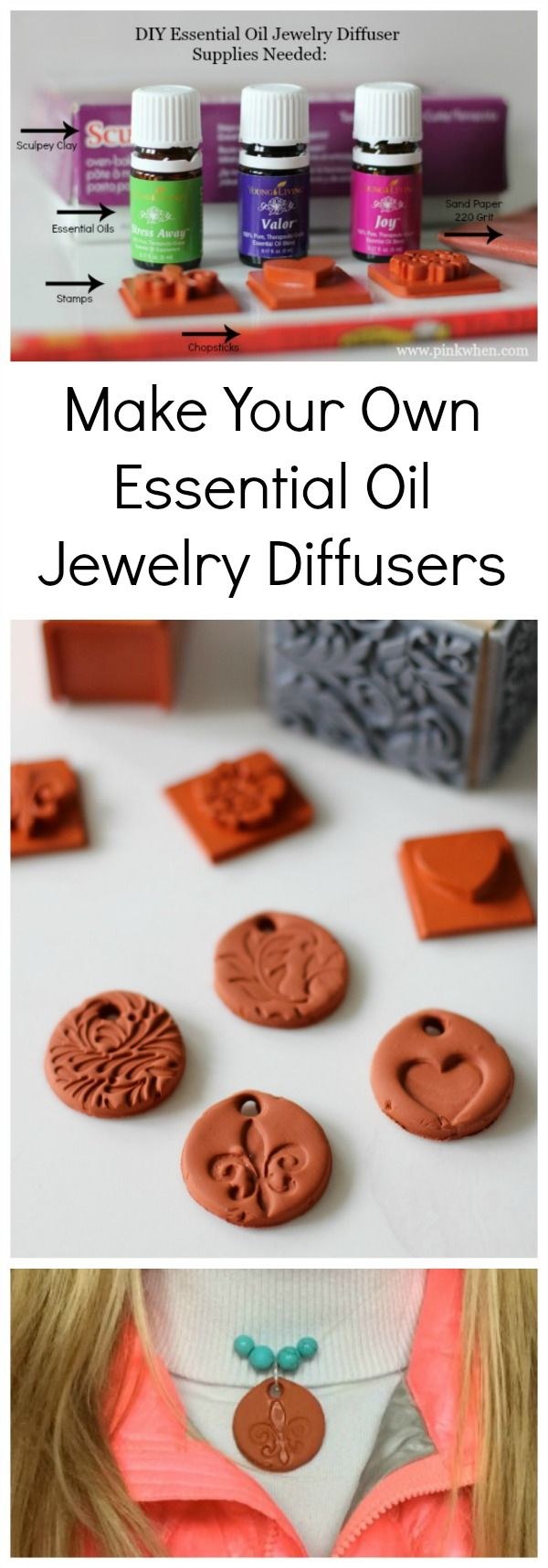 Make your own clay jewelry and essential oil diffusers with this simple step by step tutorial with video. #essentialoil #jewelry #diy