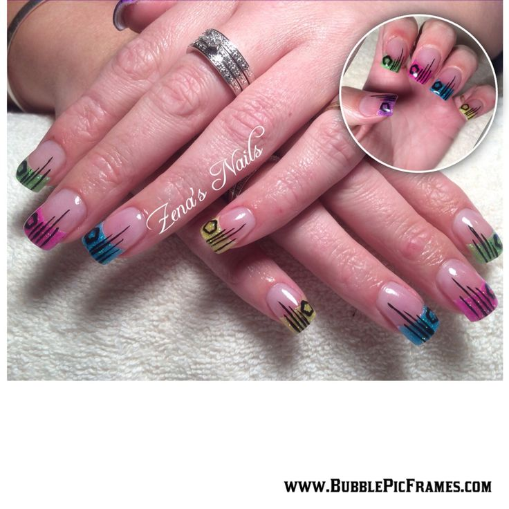 Acrylic nails With star impression and detail