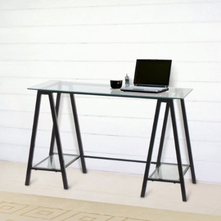 Design Fidelity Pilot Metal and Glass Desk