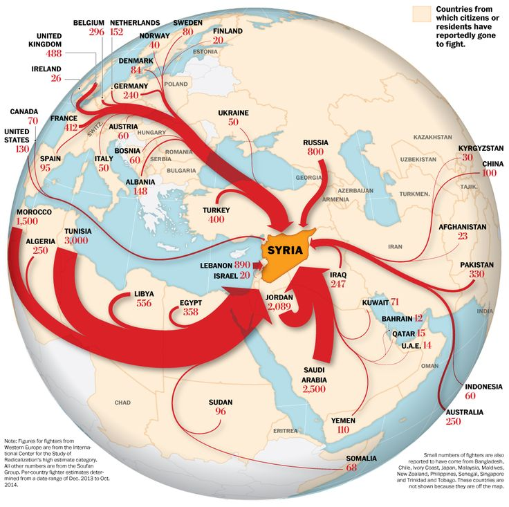 Map: Flow of foreign fighters to Syria: An estimated 15,000 militants from at least 80 nations are believed to have entered Syria to help overthrow the regime of President Bashar al-Assad according the CIA and studies by ISCR and The Soufan Group.