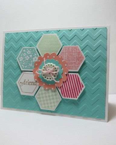 """handmade card ... clean and simple ... aqua base embossed with chevron lines ... stamped and punched hexagons form a """"granny's rose"""" ... like the little medallion flower center topped with a button ... pretty card! ... Stampin' Up!"""