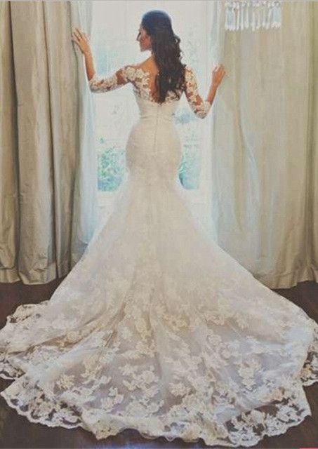 2016 Lace Mermaid Wedding Dresses 3/4 Long Sleeves Beaded Belt Elegant Bridal Gowns