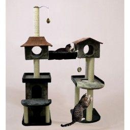 Großer stabiler Kratzbaum für verspielte Katzen. Der Abenteuerspielplatz mit vielen Extras für Stubentiger. Liegeplätze, Kratzstämme und Kuschelhöhlen.