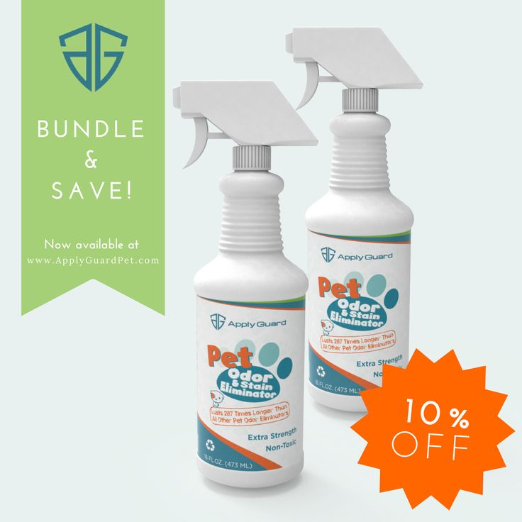 Looking to get rid of puppy and kitty smells? Save 10% when you get 2 bottles of Apply Guard Pet Odor Eliminator! Get your bottles on our website now.
