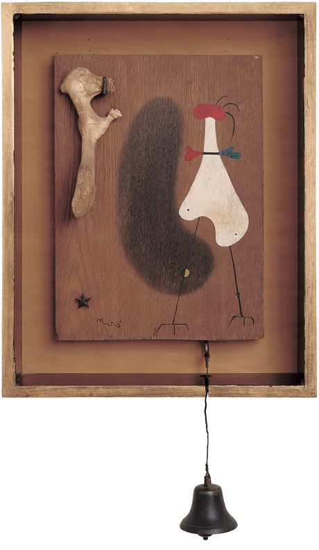 Joan Miró, Object, 1931, Oil, nails, bone and little bell on wood, 30 x 22 x 7.6 cm,