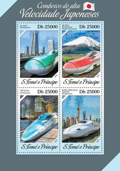 ST 13614 a Japanese speed trains, (E5 Shinkansen, E6 Shinkansen, 500 Shinkansen, N700-7000 SAKURA Shinkansen).