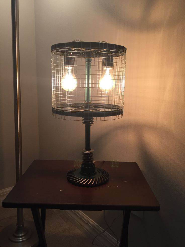 Table lamp made from used motorcycle part and industrial parts.