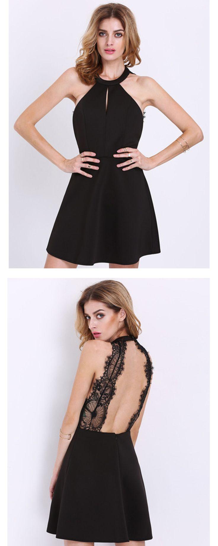 Black Halter Contrast Scallop Lace Backless Dress