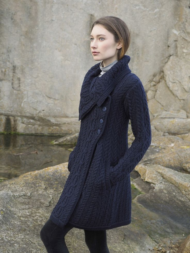 Ladies Chunky Collar Coat With Buttons by West End Knitwear.