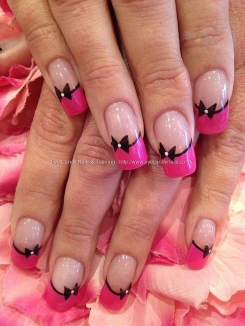 Pink and black nail art on acrylic nails - Click image to find more nail art posts