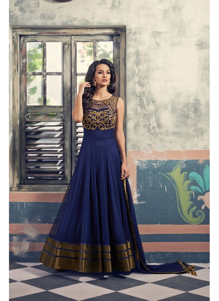 This Navy Blue Embroidered Anarkali Suit is a perfect pick for this wedding season! #Blue #Anarkali #Wedding