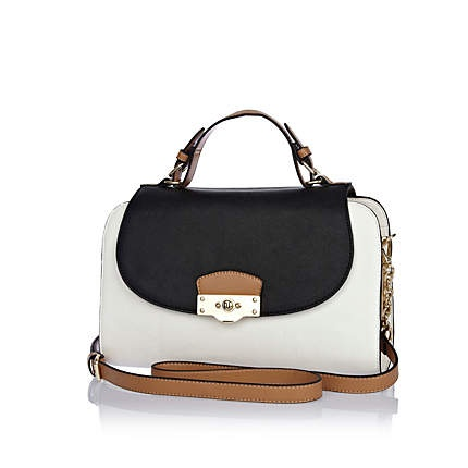 White contrast panel structured satchel bag £40.00