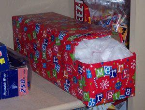 A pop can box made into a plastic bag organizer.Genius!