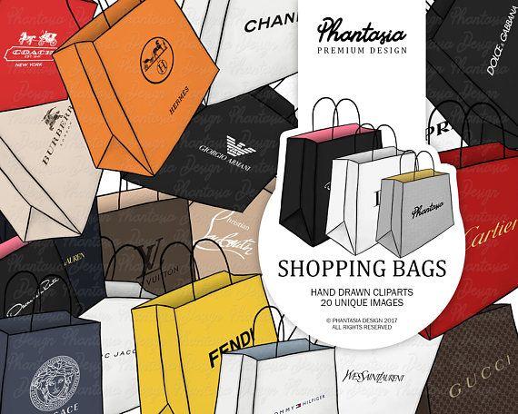 Shopping Bags Watercolor Clipart Fashion Brands Luxury Etsy Clip Art Shopping Spree Bags Watercolor Clipart