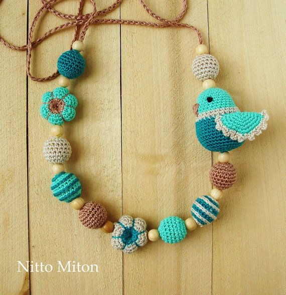 Crochet Teething wooden beads Nursing necklace от NittoMiton