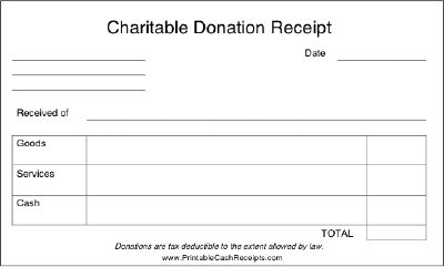 Donors to charity should be able to use this receipt for tax – Receipt for Goods