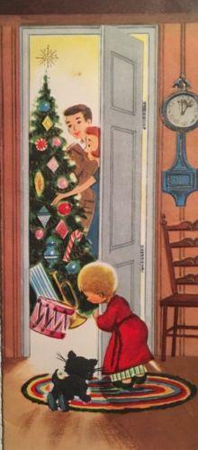 Vintage Christmas card, boy w/ his cat card
