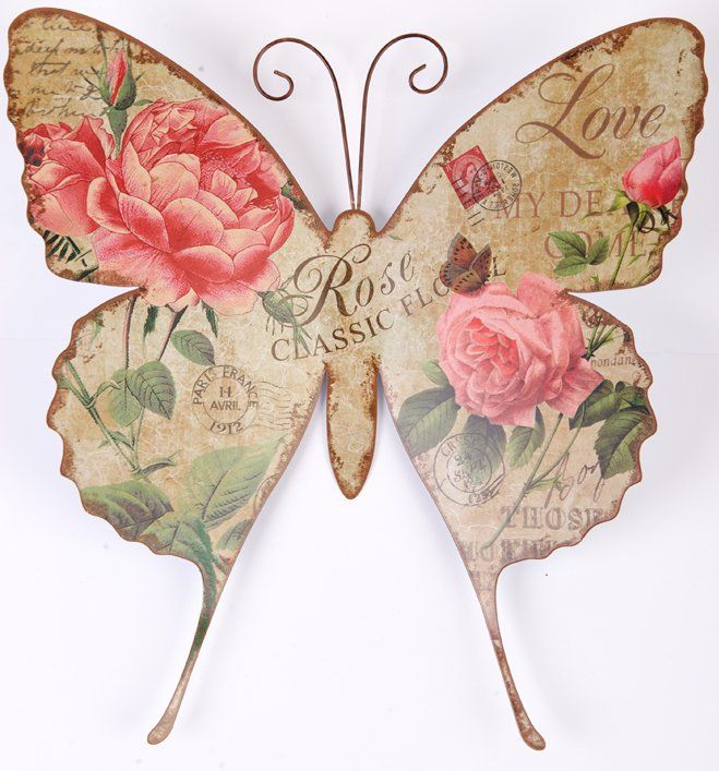 shabby chic | In Stock Metal Wall Art - Shabby Chic Romantic Rose Print Butterfly