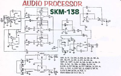 Circuit of Audio Processor using TL074, enhanced performance power amplifier and more live sound , 3D audio for your room to the best listen.