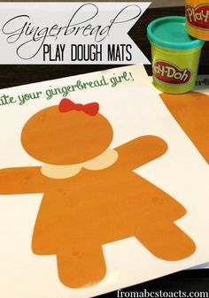 Get the little ones excited for Christmas and all things holiday related with these adorable (and fun!) gingerbread play dough mats!